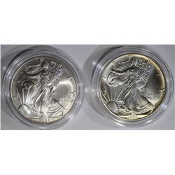 1991 & 2004 AMERICAN SILVER EAGLE DOLLARS