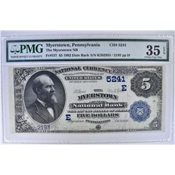 1882 DATE BACK $5 NATIONAL CURRENCY