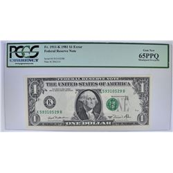 1981 $1 FEDERAL RESERVE NOTE PCGS 65PPQ