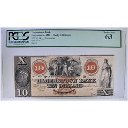1800's $10 HAGERSTOWN BANK MD PCGS 63