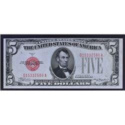 1928 B $5 LEGAL TENDER FR1527 RED SEAL