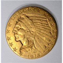 1915 $5.00 GOLD LIBERTY, XF/AU