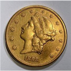 1888-S $20.00 GOLD LIBERTY, XF