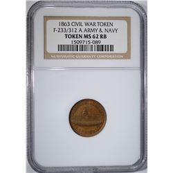 1863 CIVIL WAR TOKEN: F-233/312 A, NGC MS-62 RB