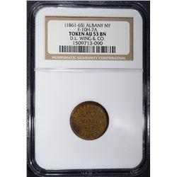 1861-65 CIVIL WAR TOKEN ALBANY  N.Y NGC AU-53 BN