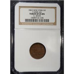 1863 CIVIL WAR TOKEN NEW YORK N.Y.  NGC XF-45 BN
