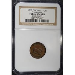 1863 CIVIL WAR TOKEN CINCI. OH NGC XF-45 BN