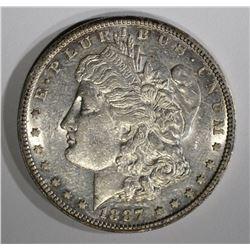 1887-S MORGAN DOLLAR, CH BU