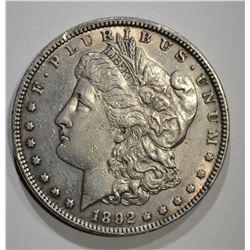 1892 MORGAN DOLLAR, AU+