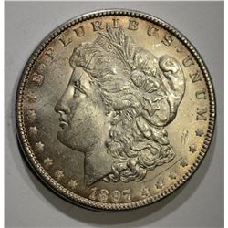 1897 MORGAN DOLLAR, CH BU+