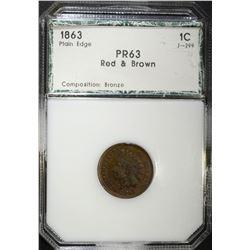 1863 INDIAN CENT, PCI CH PR RB RARE!!