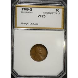 1909-S  S/HORIZONTAL S LINCOLN CENT, PCI VF