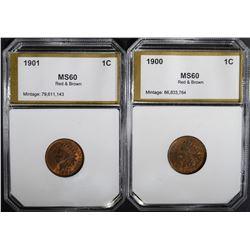 1900 & 1901 LINCOLN CENTS PCI BU R&B