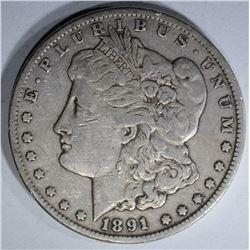 1891-CC MORGAN SILVER DOLLAR XF++