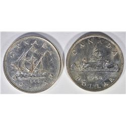 1949 & 1950 CANADIAN SILVER DOLLARS