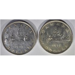 1935 & 1937 CANADIAN SILVER DOLLARS