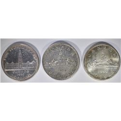 1939, 1950 & 1966 CANADIAN SILVER DOLLARS