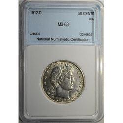 1912-D BARBER HALF DOLLAR NNC