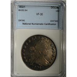 1802/1 BUST DOLLAR NNC VERY FINE