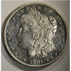 1891-CC MORGAN DOLLAR CHBU+