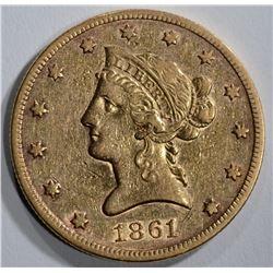 1861 $10 GOLD LIBERTY XF-AU