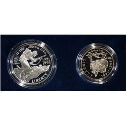 1993 WORLD WAR II 50TH ANNIIVERSARY 2 COIN