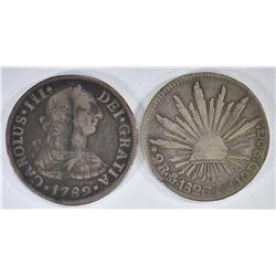 1789 & 1826 MEXICO 2 REALES SILVER Pcs