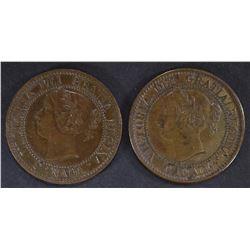 2 - 1859 CANADIAN LARGE CENTS AU