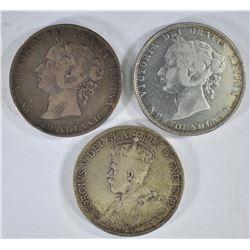 1873, 1899, 1917 50c NEW FOUNDLAND