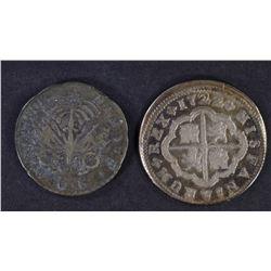 1722 2 REALES MEXICO, 1828 50c HAITI