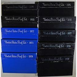 1970-1979 U.S. PROOF SETS 10-SETS IN ORIG PACKAGIN