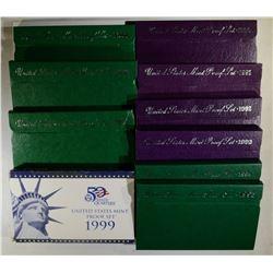 1990 thru 1999 U.S. PROOF SET RUN
