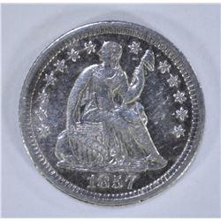 1857-O SEATED HALF DIME, XF+