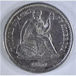1860-O SEATED HALF DIME, AU/BU