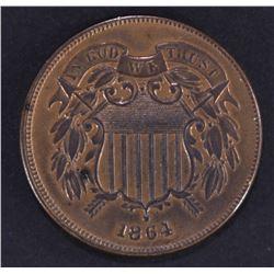 1864 2-CENT PIECE LARGE MOTTO, CH BU