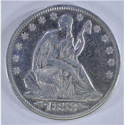 1853 ARROWS & RAYS SEATED HALF DOLLAR, VF