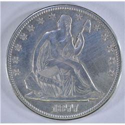 1877-CC SEATED HALF DOLLAR, XF