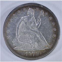 1878 SEATED HALF DOLLAR, XF