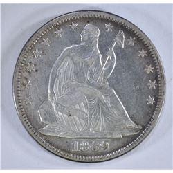 1869 SEATED HALF DOLLAR, XF