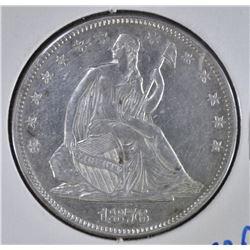 1876 SEATED HALF DOLLAR, AU+