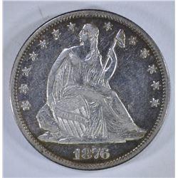 1876-S SEATED HALF DOLLAR, XF/AU