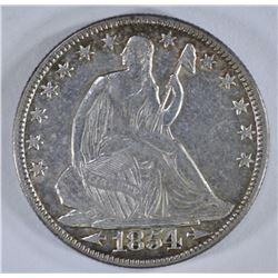 1854-O WITH ARROWS SEATED HALF DOLLAR, XF/AU