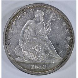 1842 SEATED HALF DOLLAR, XF/AU NICE!