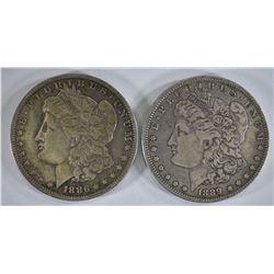 1886-O XF & 89-O VF MORGAN DOLLARS