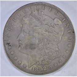 1892-S MORGAN DOLLAR, VF