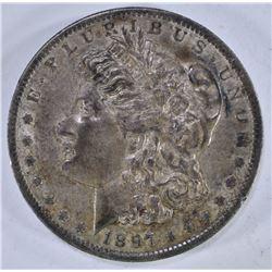 1897-O MORGAN DOLLAR, CH AU