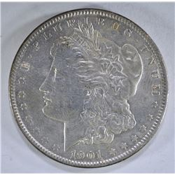 1901 MORGAN DOLLAR, AU+ cleaned