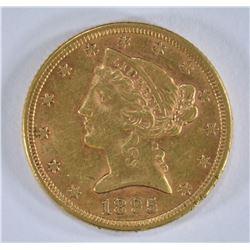 1895 $5.00 GOLD LIBERTY, AU+