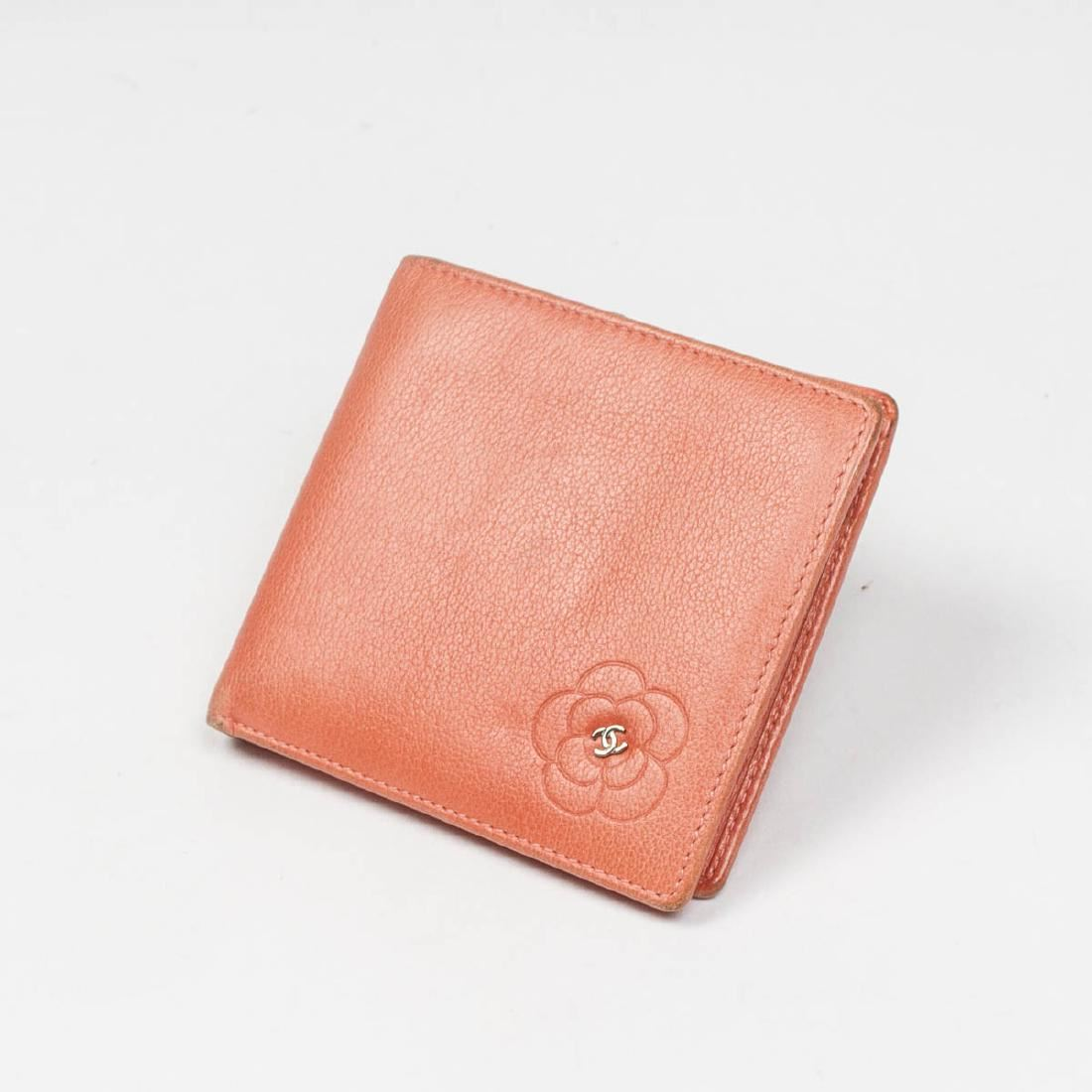 3268fcda10de Image 1   Chanel Square Flower Wallet in Peach Pink Grained ...
