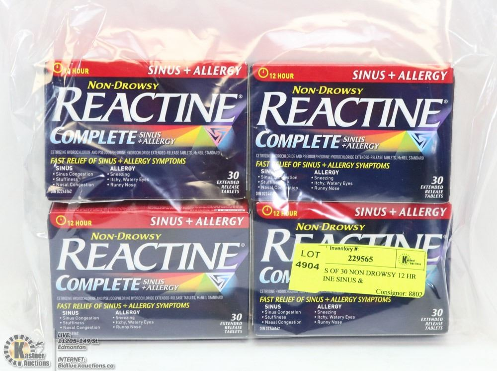 4 PACKS OF 30 NON DROWSY 12 HR REACTINE SINUS &